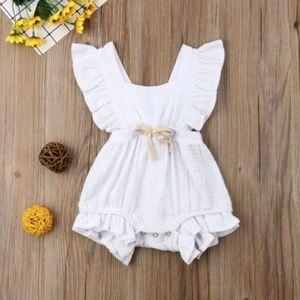 Other - Baby Girl Solid Ruffled Design Sleeveless Romper